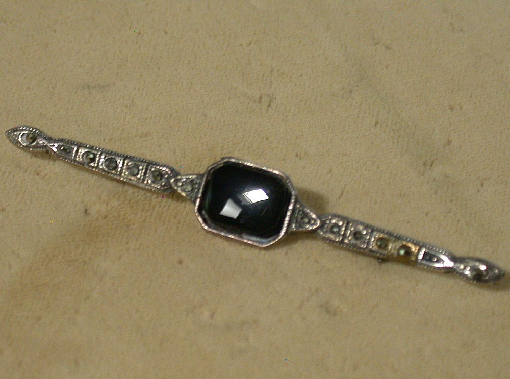 Vintage Sterling, Black Onyx and Marcasite Bar Pin