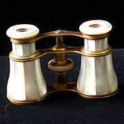 Vintage French Mother Of Pearl Opera Glasses, Orig. Case