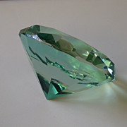 Blue-Green Faceted Crystal Paperweight, Gemstone Shape