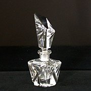Vintage Angular, Beveled & Asymmetrical Perfume Bottle W/Stopper