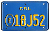 Old California Exempt Motorcycle License Plate (City/County Police, Early 1970's Issue), E ...