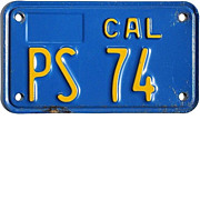 SALE Old California Public Service Motorcycle License Plate, 1980's