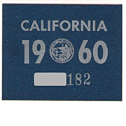 Vintage California License Plate Year Sticker, 1960,  New Old Stock!