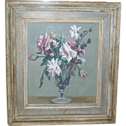 Woodstock Art Colony Floral Still Life Oil Painting of Roses in a Vase by Marko Vukovic Rudolp