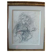 Pencil Drawing by Marion Greenwood Presented in a Carved Giltwood Frame