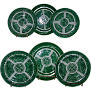 Set 6 Antique Early 19th century Chinese Export Porcelain Green Fitzhugh Plates c. 1800