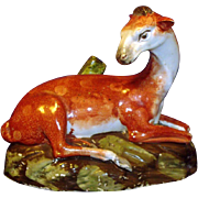 Fine Antique 18th century Pearlware  Model of a Recumbent Doe c. 1800