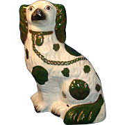 Antique 19th century Staffordshire Spaniel 1840 Rare Green Glaze
