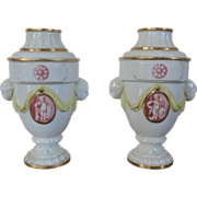 Pair 18th c. Neoclassical Hochst Porcelain Urns / Vases with Cherubs
