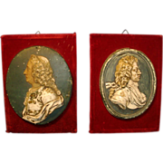 Fine Pair Antique 18th century Portrait Bust Plaques Kings of France