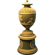 Antique Early 19th century Jasperware Urn on Pedestal Two Colors 1810