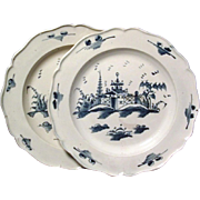 Pair Antique English Delft Blue and White Tin Glaze Pottery Plates 18th century