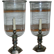 Large Pair Vintage Ralph Lauren Blown Glass Hurricane Lamps or Photophores for Candles