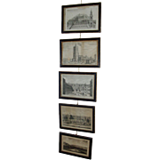 Rare Set 5 18th c. Prints Views of London in Original Hogarth Picture Frames