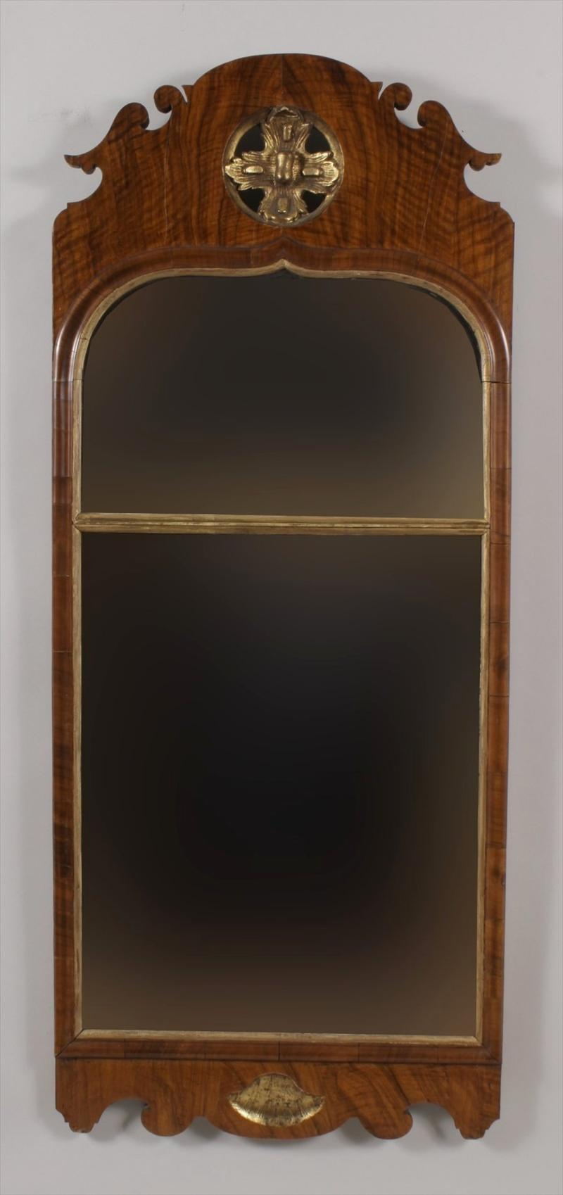 Antique 18th century queen anne walnut long mirror from for Long antique mirror