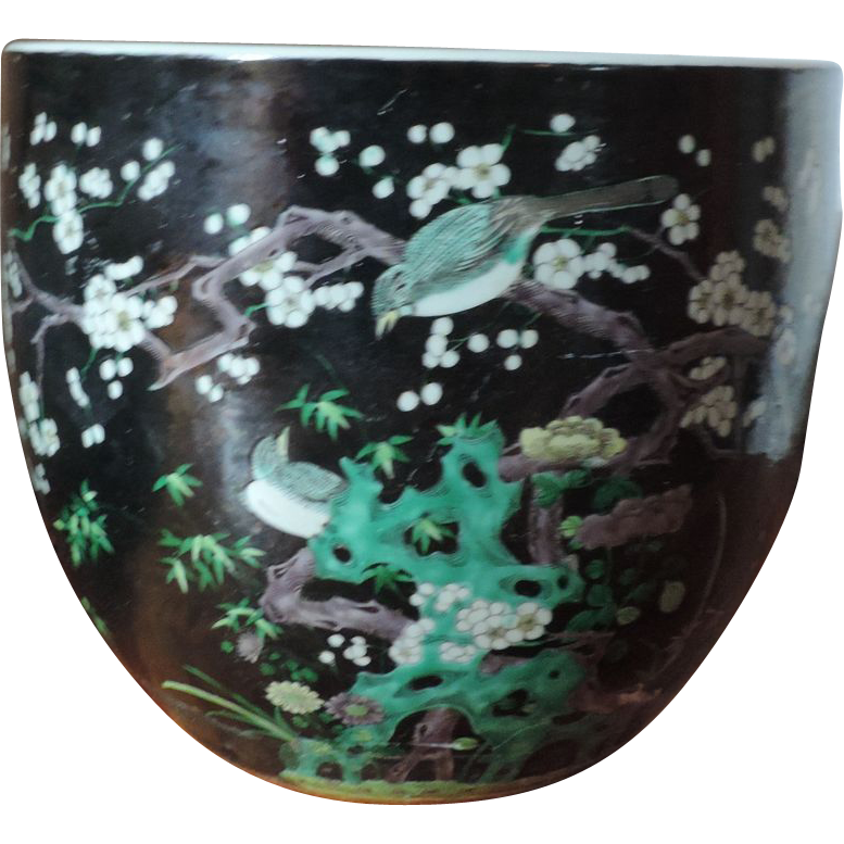 Large antique 19th century chinese famille noir porcelain for Chinese fish bowl planter