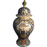 Fine 18th c. Polychrome Delft Covered Baluster Vase with Chinese Decoration 1765
