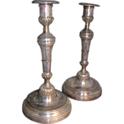 Pair 19th c. French Silvered Bronze Candlesticks