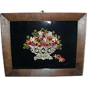 Victorian Paper Scroll Work Picture on Velvet Basket of Strawberries