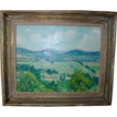 George Davidson Connecticut Impressionist Plein Air Landscape Painting Oil on Board c. 1930 with Period Lowy Frame