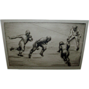 Rosamond Tudor Signed Etching - Footballers c. 1920