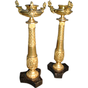 19th c. Gilt Bronze Egyptian Revival Candlesticks or Torchiere in the manner of Thomas Hope Or