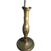 Early 19th c. Empire Brass Candlestick in the Directoire Taste now Electrified as a Lamp