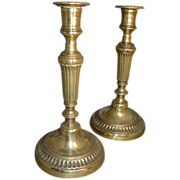 Fine Pair 18th c. English Brass Candlesticks