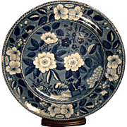 Early 19th c. Riley's Semi China Floral Blue Transferware Plate