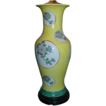 Pair Republic Period Yellow Ground Chinese Porcelain Baluster Shaped Vases with Floral Landscape Reserves as Lamps - Early 20th c.