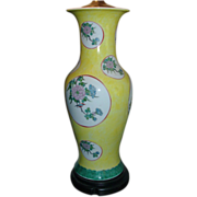 Pair Republic Period Yellow Ground Chinese Porcelain Baluster Shaped Vases with Floral Landsca