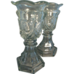 Pair 19th c. Sandwich Glass Vases with Star & Punty Decoration - EAPG