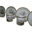 Rare set 6 Early 19th c. Old Paris Porcelain Cups and Saucers with Ornithological Decoration c. 1810