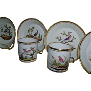 Rare set 6 Early 19th c. Old Paris Porcelain Cups and Saucers with Ornithological Decoration c