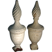 Large Pair Early 19th c. Formal American Federal Urn & Flame Form Garden Gate Post Finials