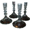 Set 4 Georgian Anglo Irish Cut Crystal Candlesticks Finest Quality Glass - 19th c.