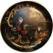 19th c. Lacquer Bowl or Tray with Chinese Figures / Tea Ceremony in Landscape