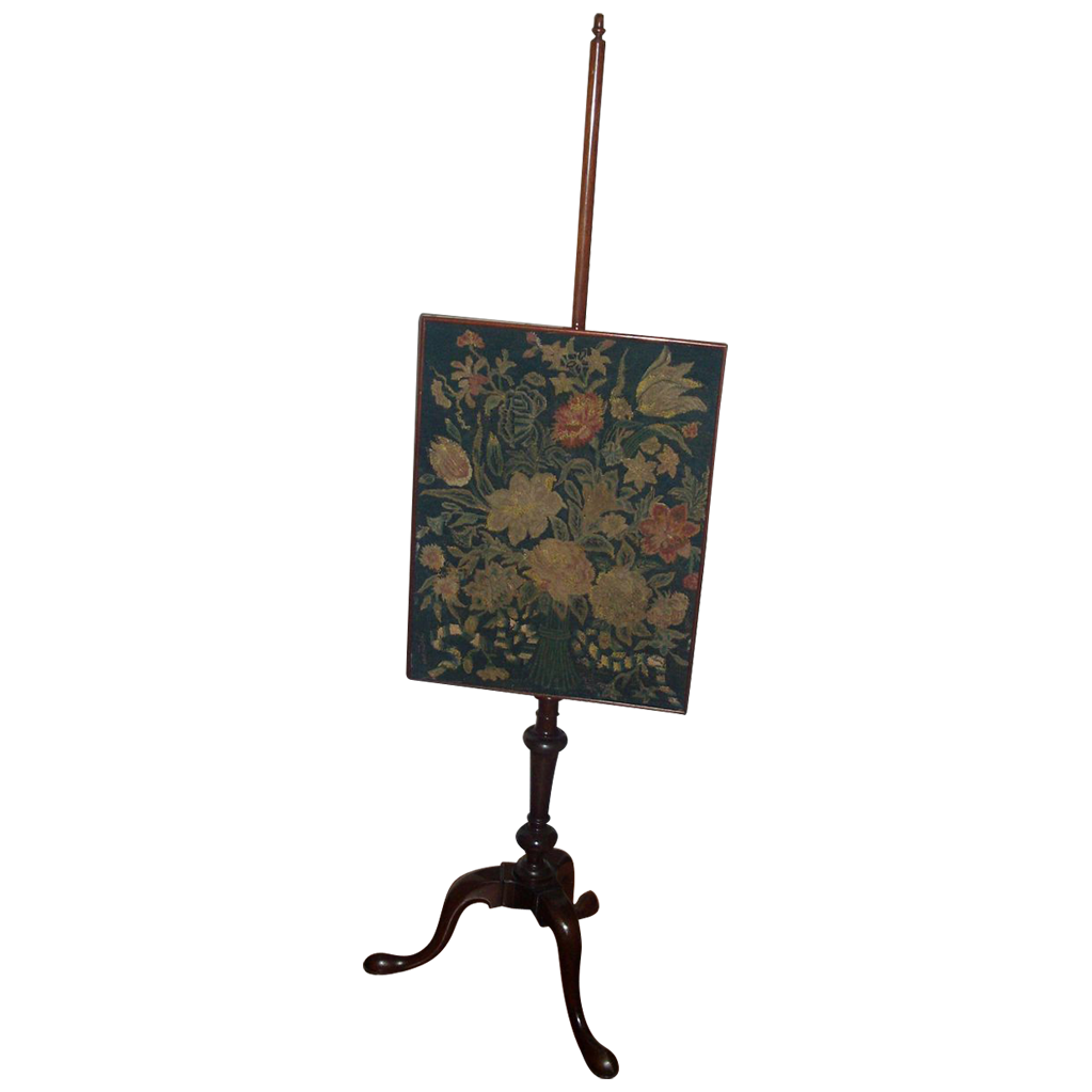 Fine Antique 19th c. Georgian Pole or Fire Screen with Needlepoint