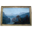 Large 19th century American Landscape Oil Painting on Canvas - Yosemite Valley California Scene with Native Indian - Alexander Loemans (1816 - 1898)