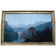 Large 19th century American Landscape Oil Painting on Canvas - Yosemite Valley California Scen
