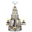 Early 19th c. Baltic Empire Gilt Brass and Cobalt Glass Candle Chandelier Luster now Electrified - 1810