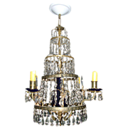 Early 19th c. Baltic Empire Gilt Brass and Cobalt Glass Candle Chandelier Luster now Electrifi