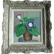 Fine 1930's American Still Life Oil Painting by Carl Buck - Gloxinia Flowering Plant in Terra