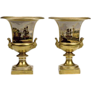 Fine & Large Early 19th Century Old Paris Porcelain Campagna Urns with Nautical Seaport & Ship