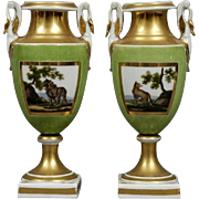 Fine Pair Early 19th c. Old Paris Porcelain Urns or Vases with Lions & Green Ground 1810