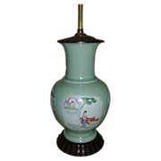 Early 19th c. Chinese Celadon Porcelain Vase with Polychrome Famille Rose Reserve Panels as La