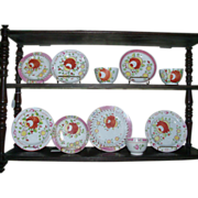 Collection of 10 Pieces Early 19th c. King's Rose Pearlware Tea Cups, Plates & Saucers