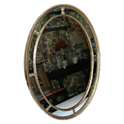 Early 19th c. Georgian Adam Carved and Gilt Wood Oval Mirror with Divided Panels c ...