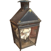 Large 19th c. English Paint Decorated Tole Lantern with Mercury Reflector