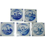 Set 5 18th c. Delft Blue & White Landscape Tiles